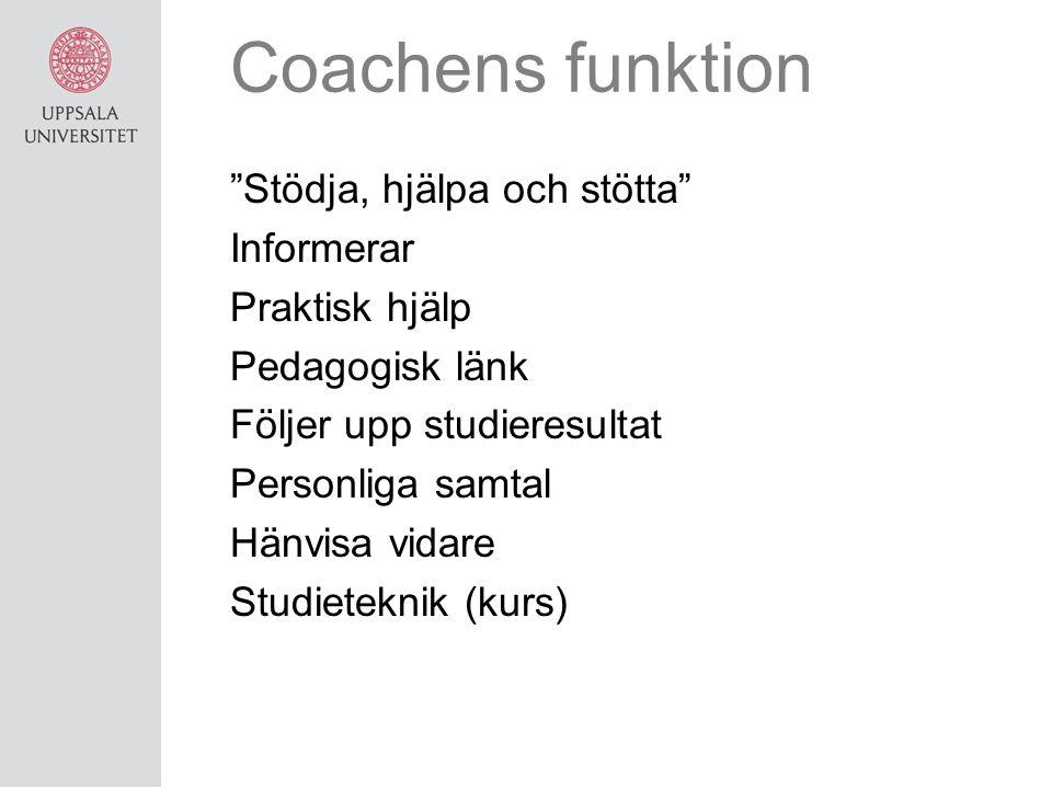 Coachens funktion Stödja, hjälpa och stötta Informerar Praktisk hjälp Pedagogisk länk Följer upp studieresultat Personliga samtal Hänvisa vidare Studieteknik (kurs)