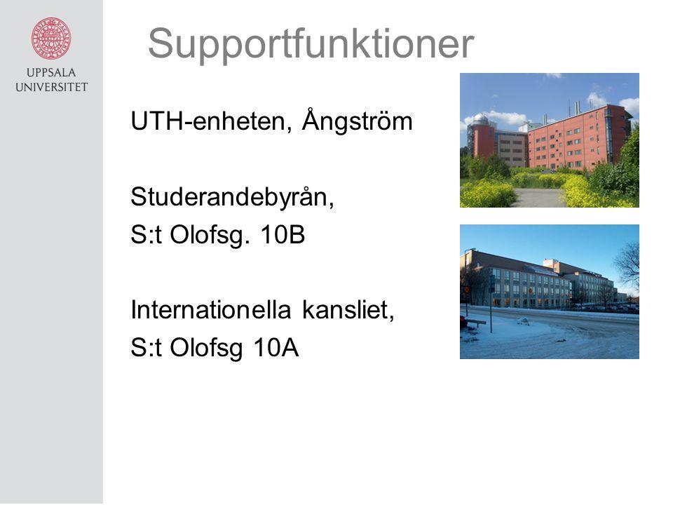 Supportfunktioner UTH-enheten, Ångström Studerandebyrån, S:t Olofsg. 10B Internationella kansliet, S:t Olofsg 10A