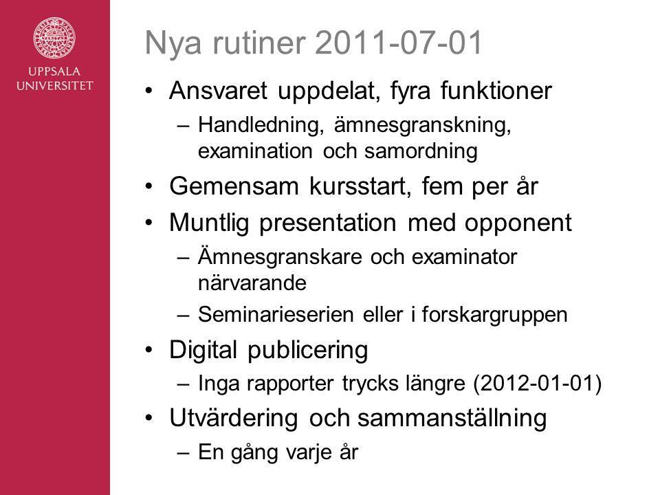 Nya rutiner 2011-07-01 Ansvaret uppdelat, fyra funktioner –Handledning, ämnesgranskning, examination och samordning Gemensam kursstart, fem per år Mun