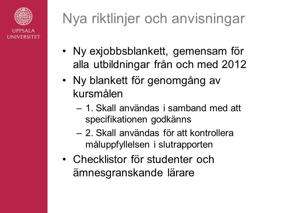 Nya riktlinjer och anvisningar Ny exjobbsblankett, gemensam för alla utbildningar från och med 2012 Ny blankett för genomgång av kursmålen –1. Skall a