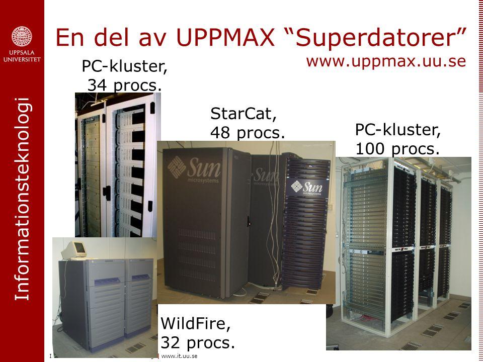 Informationsteknologi Institutionen för informationsteknologi | www.it.uu.se En del av UPPMAX Superdatorer www.uppmax.uu.se WildFire, 32 procs.