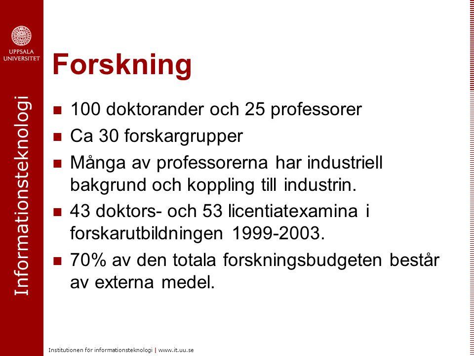 Informationsteknologi Institutionen för informationsteknologi | www.it.uu.se Forskning 100 doktorander och 25 professorer Ca 30 forskargrupper Många av professorerna har industriell bakgrund och koppling till industrin.