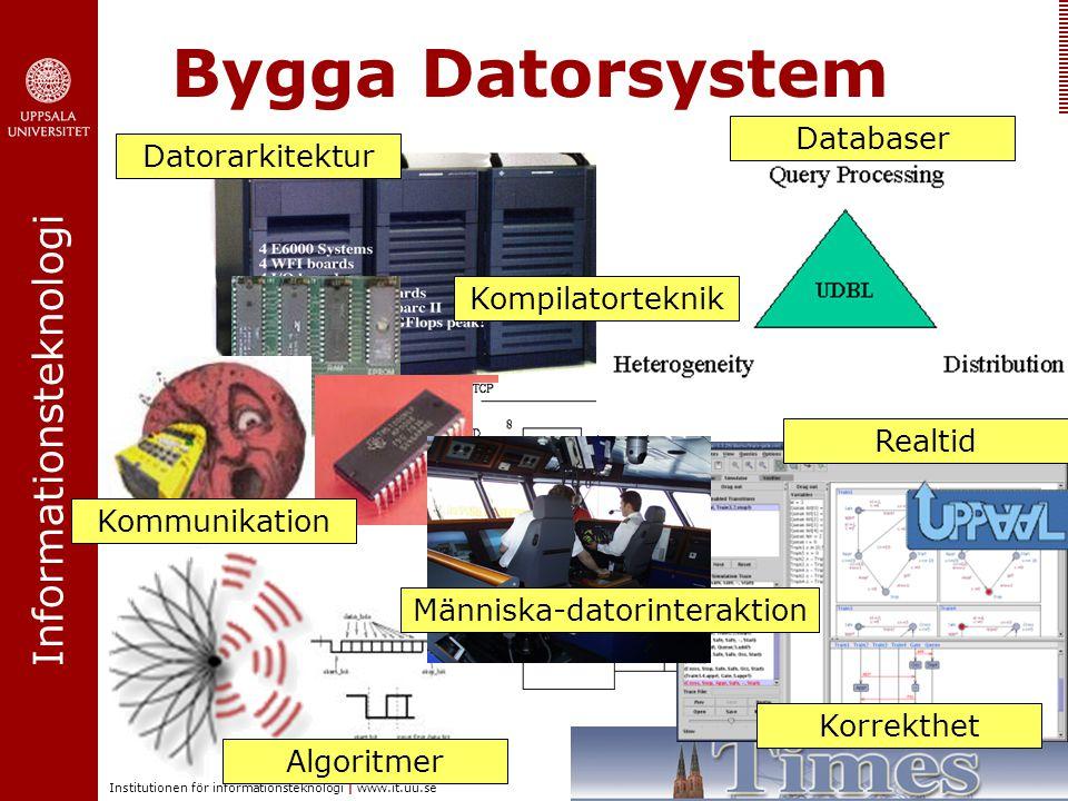 Informationsteknologi Institutionen för informationsteknologi | www.it.uu.se Bygga Datorsystem Människa-datorinteraktion Databaser Kommunikation Datorarkitektur Realtid Korrekthet Kompilatorteknik Algoritmer