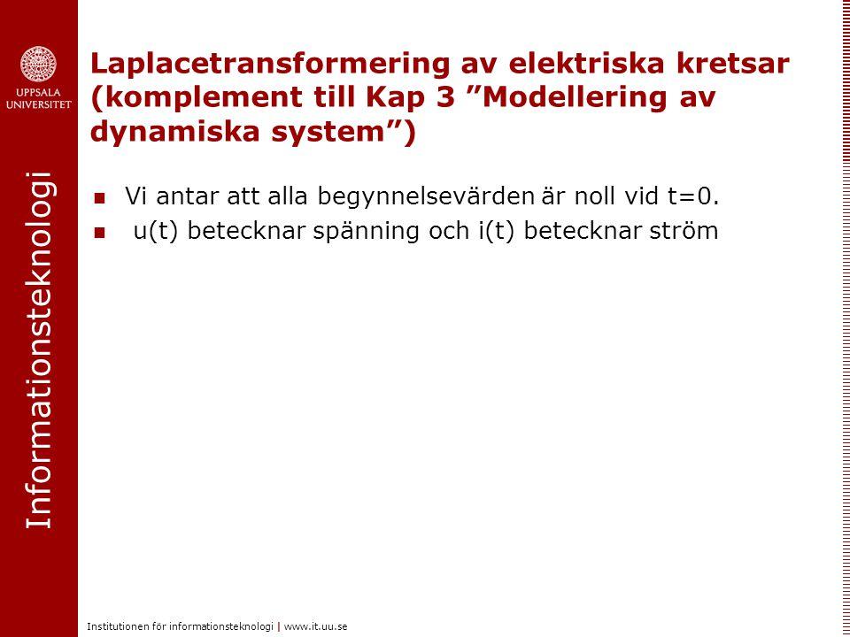 Informationsteknologi Institutionen för informationsteknologi | www.it.uu.se Motstånd med resistans R Överföringsfunktion Frekvensfunktion: