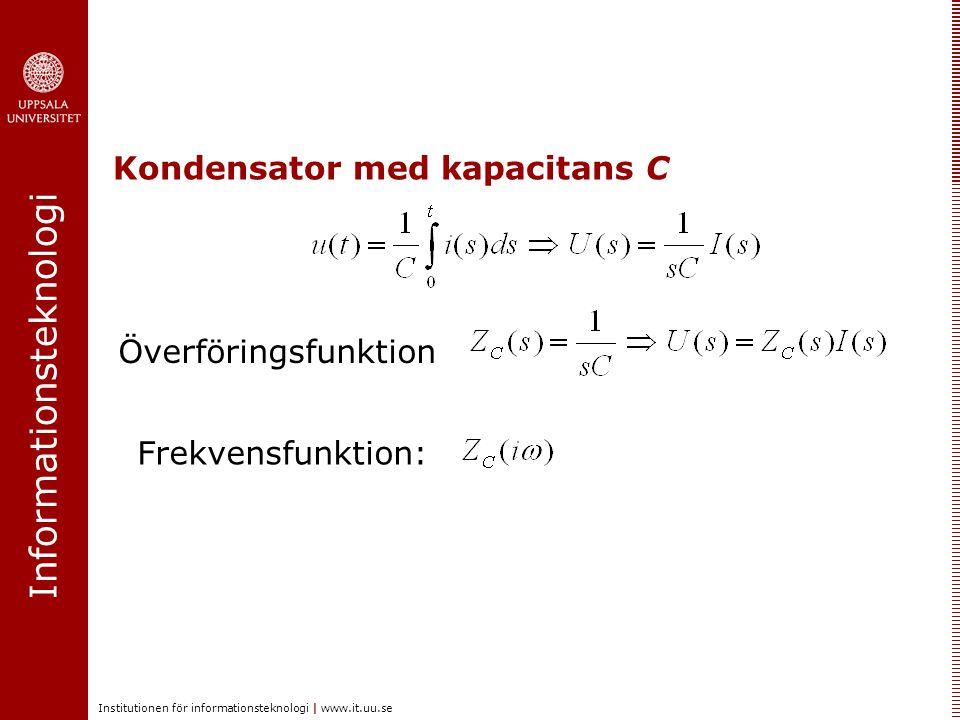 Informationsteknologi Institutionen för informationsteknologi | www.it.uu.se Kondensator med kapacitans C Överföringsfunktion Frekvensfunktion: