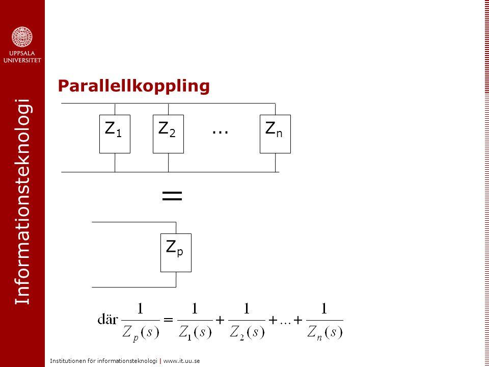 Informationsteknologi Institutionen för informationsteknologi | www.it.uu.se Exempel – Se även Ex 2.4 i kursboken Z3Z3 Z1Z1 Z2Z2 u(t) insignal (spänning) + - Utsignal y(t), Spänning över Z 3 Bestäm G(s)=Y(s)/U(s): ström i(t)
