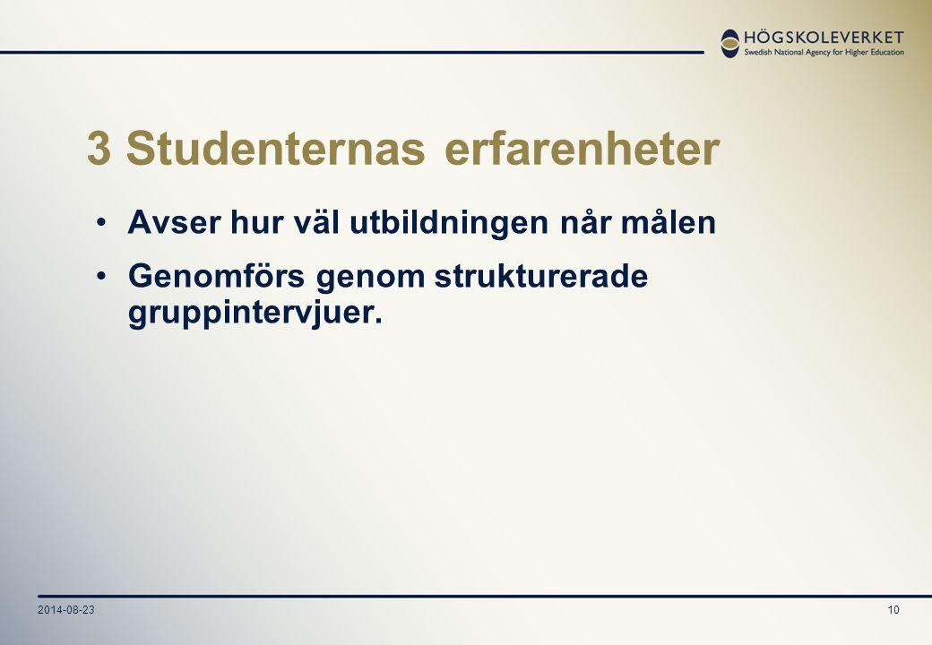 2014-08-2310 3 Studenternas erfarenheter Avser hur väl utbildningen når målen Genomförs genom strukturerade gruppintervjuer.