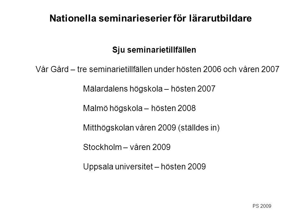 Sju seminarietillfällen Vår Gård – tre seminarietillfällen under hösten 2006 och våren 2007 Mälardalens högskola – hösten 2007 Malmö högskola – hösten
