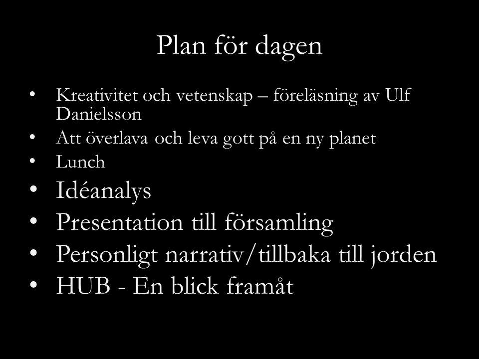 Plan för dagen Kreativitet och vetenskap – föreläsning av Ulf Danielsson Att överlava och leva gott på en ny planet Lunch Idéanalys Presentation till församling Personligt narrativ/tillbaka till jorden HUB - En blick framåt