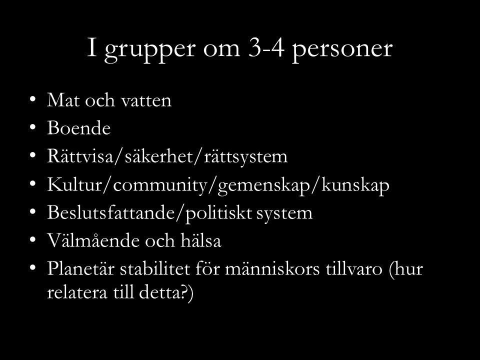 I grupper om 3-4 personer Mat och vatten Boende Rättvisa/säkerhet/rättsystem Kultur/community/gemenskap/kunskap Beslutsfattande/politiskt system Välmå