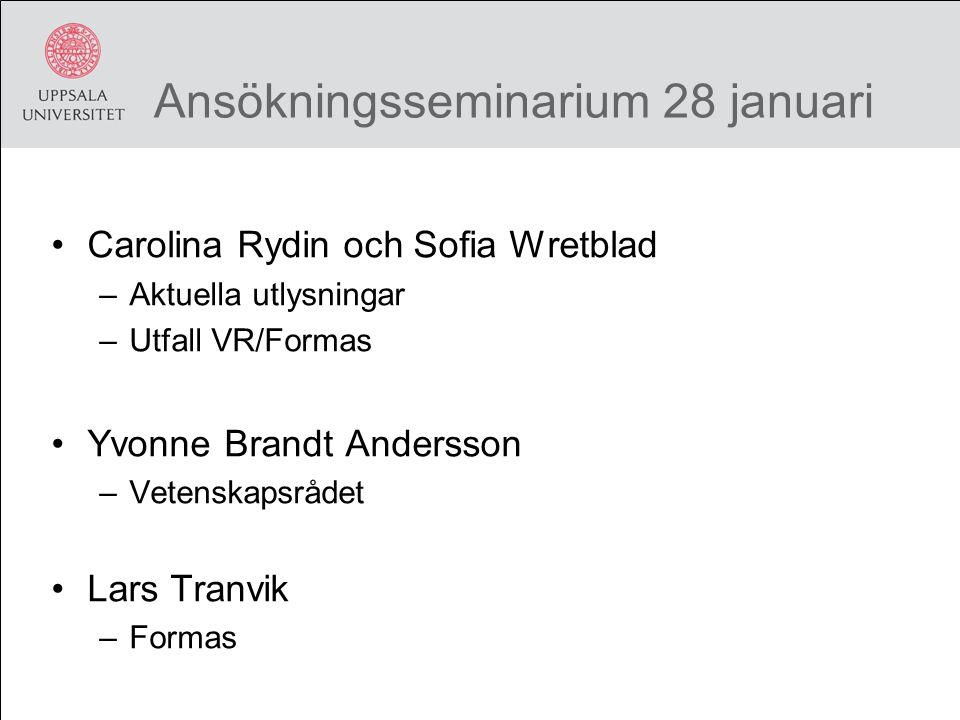 Ansökningsseminarium 28 januari Carolina Rydin och Sofia Wretblad –Aktuella utlysningar –Utfall VR/Formas Yvonne Brandt Andersson –Vetenskapsrådet Lars Tranvik –Formas