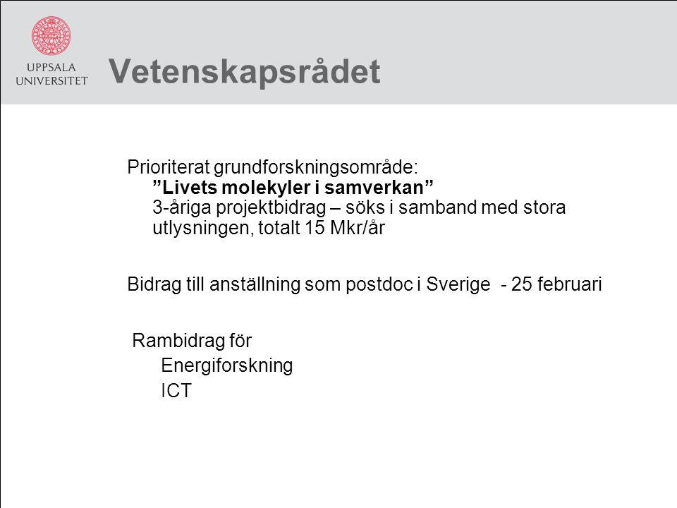 Vetenskapsrådet Prioriterat grundforskningsområde: Livets molekyler i samverkan 3-åriga projektbidrag – söks i samband med stora utlysningen, totalt 15 Mkr/år Bidrag till anställning som postdoc i Sverige - 25 februari Rambidrag för Energiforskning ICT