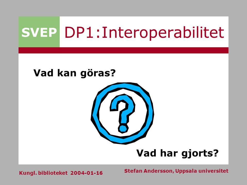 SVEP Kungl. biblioteket 2004-01-16 Stefan Andersson, Uppsala universitet DP1:Interoperabilitet Vad kan göras? Vad har gjorts?