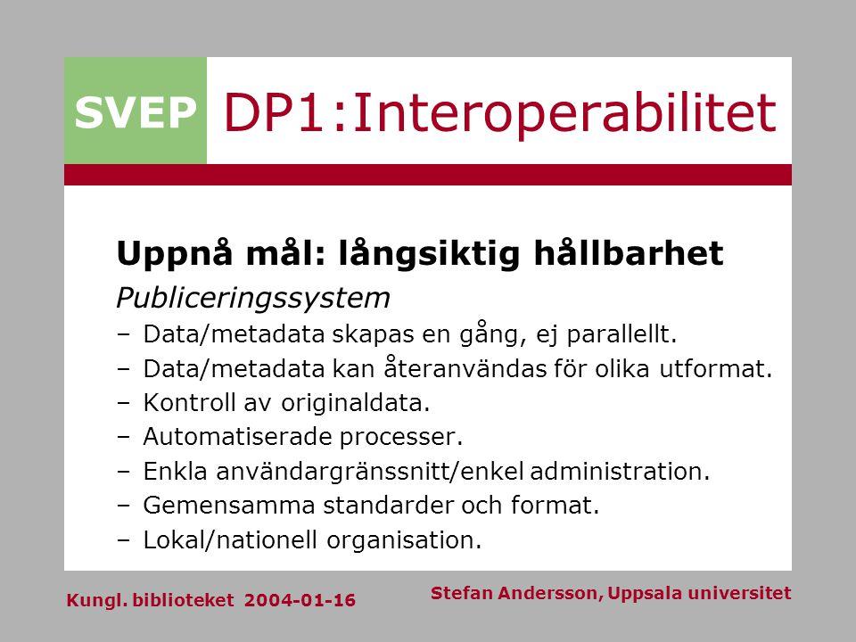 SVEP Kungl. biblioteket 2004-01-16 Stefan Andersson, Uppsala universitet DP1:Interoperabilitet Uppnå mål: långsiktig hållbarhet Publiceringssystem –Da