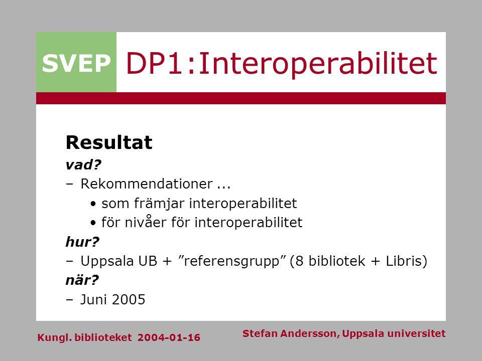 SVEP Kungl. biblioteket 2004-01-16 Stefan Andersson, Uppsala universitet DP1:Interoperabilitet Resultat vad? –Rekommendationer... som främjar interope
