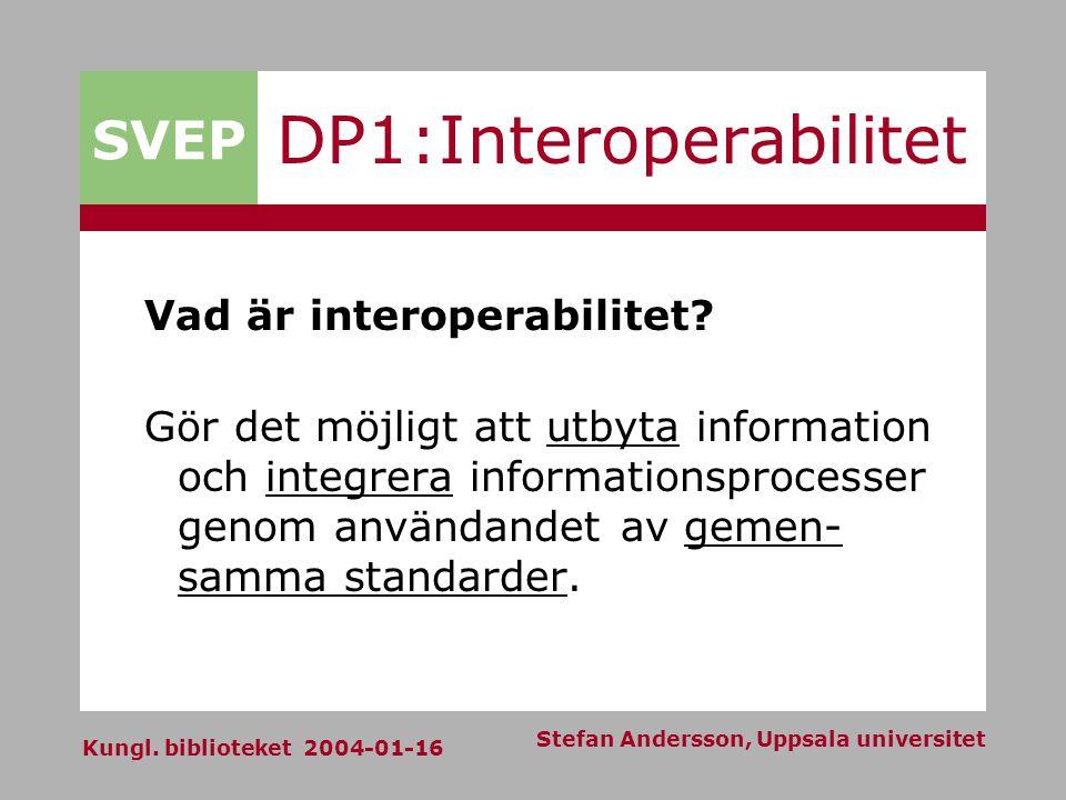 SVEP Kungl. biblioteket 2004-01-16 Stefan Andersson, Uppsala universitet DP1:Interoperabilitet Vad är interoperabilitet? Gör det möjligt att utbyta in