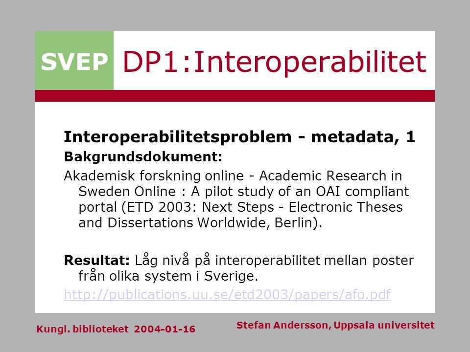 SVEP Kungl. biblioteket 2004-01-16 Stefan Andersson, Uppsala universitet DP1:Interoperabilitet Interoperabilitetsproblem - metadata, 1 Bakgrundsdokume