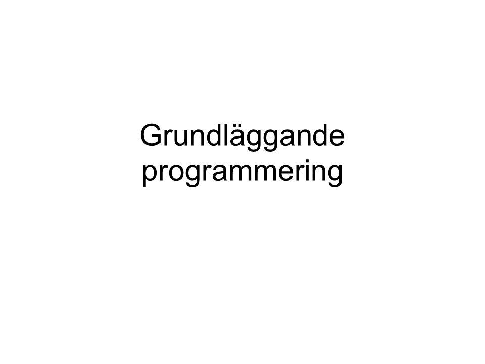 Grundläggande programmering