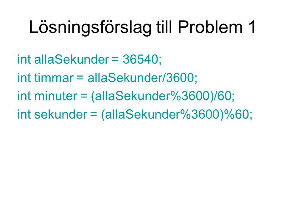 Lösningsförslag till Problem 1 int allaSekunder = 36540; int timmar = allaSekunder/3600; int minuter = (allaSekunder%3600)/60; int sekunder = (allaSek