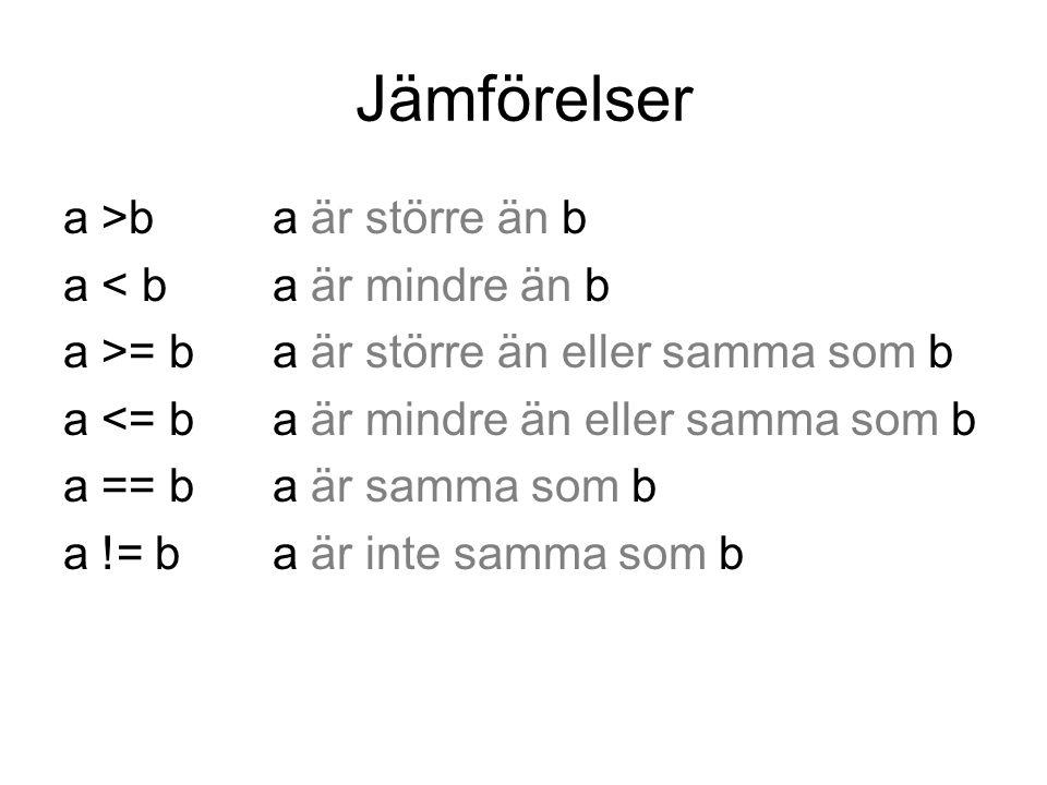 Jämförelser a >ba är större än b a < ba är mindre än b a >= b a är större än eller samma som b a <= ba är mindre än eller samma som b a == ba är samma