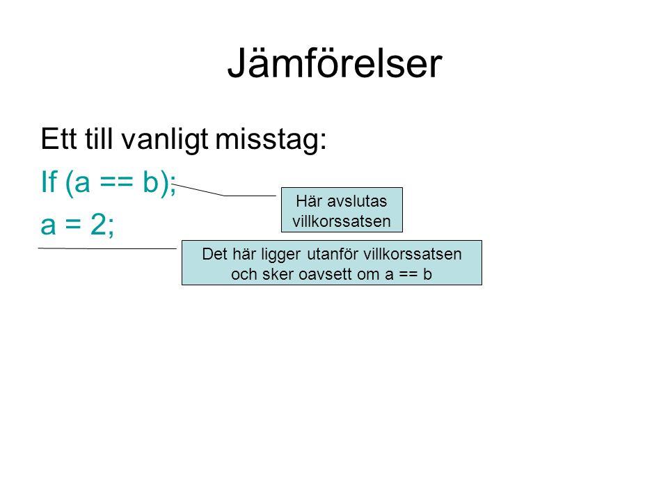 Jämförelser Ett till vanligt misstag: If (a == b); a = 2; Här avslutas villkorssatsen Det här ligger utanför villkorssatsen och sker oavsett om a == b