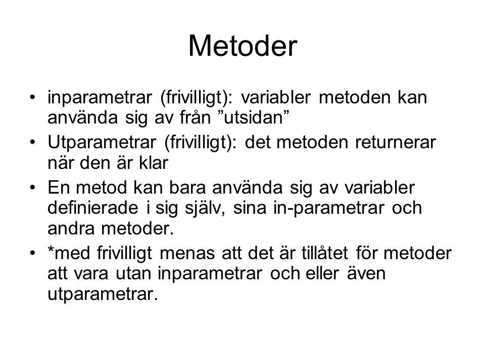 """Metoder inparametrar (frivilligt): variabler metoden kan använda sig av från """"utsidan"""" Utparametrar (frivilligt): det metoden returnerar när den är kl"""