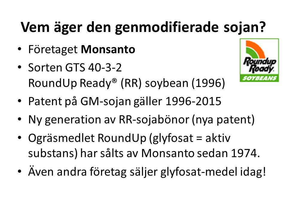 Vem äger den genmodifierade sojan? Företaget Monsanto Sorten GTS 40-3-2 RoundUp Ready® (RR) soybean (1996) Patent på GM-sojan gäller 1996-2015 Ny gene