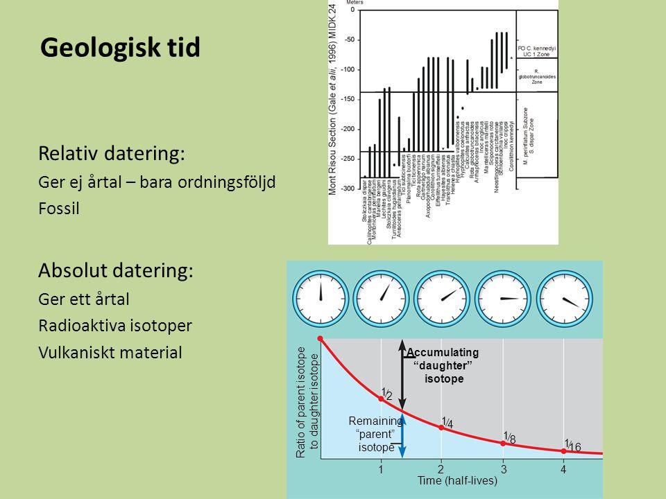 Geologisk tid Jordens ålder: 4600 Ma (Miljoner år sedan) 3 eoner: Arkeikum Proterozoikum Fanerozoikum Huvudsakligen mikroskopiskt liv före fanerozoikum De första djuren ca 600 Ma Fanerozoikum – 3 eror, 11 perioder