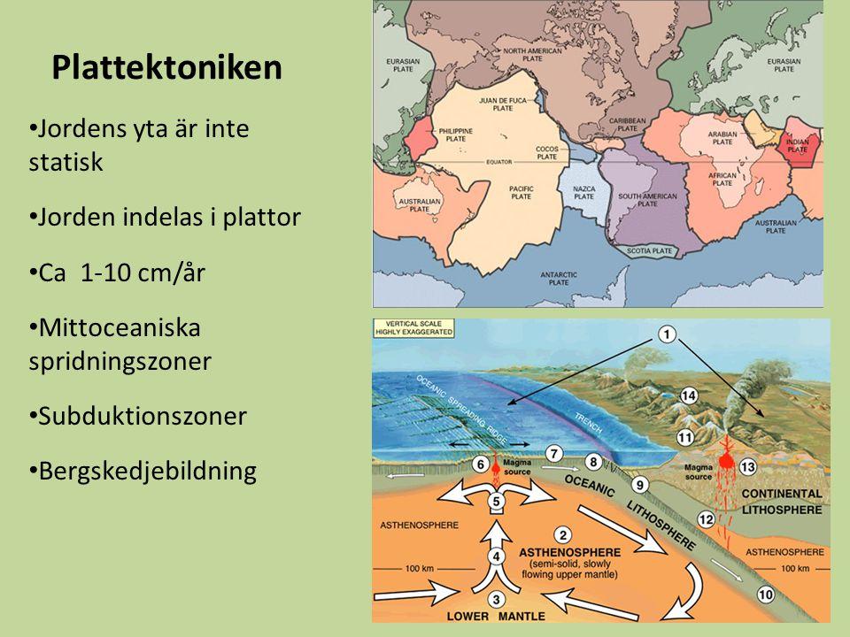Plattektoniken Jordens yta är inte statisk Jorden indelas i plattor Ca 1-10 cm/år Mittoceaniska spridningszoner Subduktionszoner Bergskedjebildning