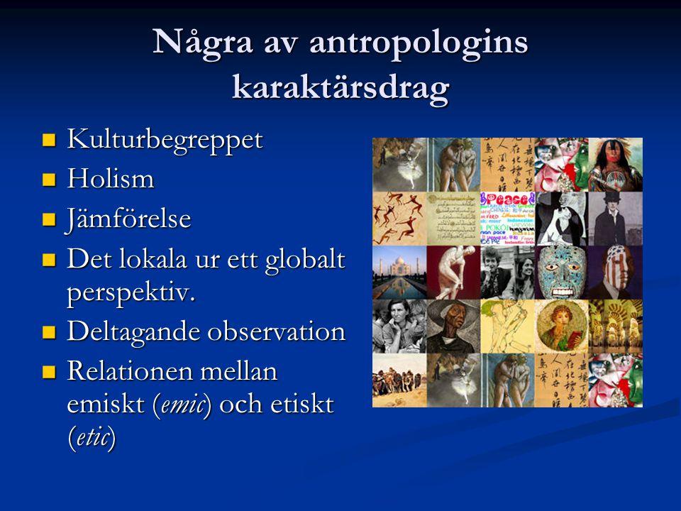 Några av antropologins karaktärsdrag Kulturbegreppet Kulturbegreppet Holism Holism Jämförelse Jämförelse Det lokala ur ett globalt perspektiv.