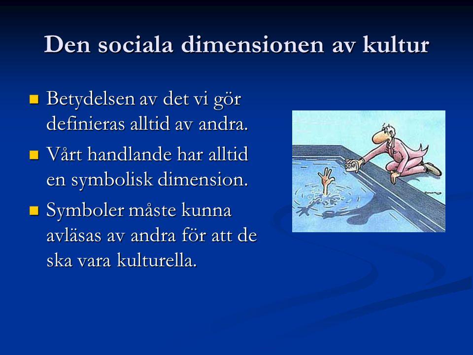 Den sociala dimensionen av kultur Betydelsen av det vi gör definieras alltid av andra.