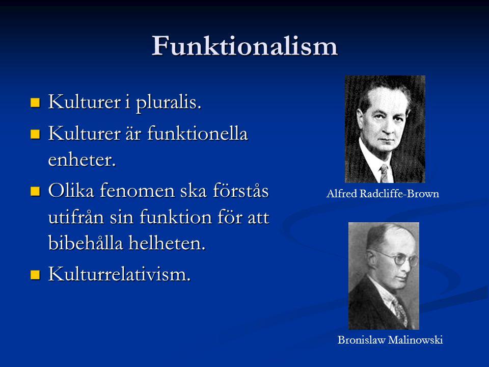 Funktionalism Kulturer i pluralis.Kulturer i pluralis.