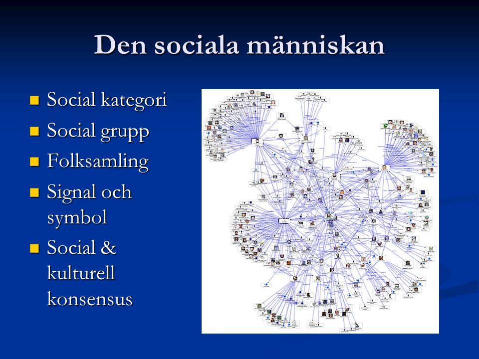 Den sociala människan Social kategori Social kategori Social grupp Social grupp Folksamling Folksamling Signal och symbol Signal och symbol Social & k