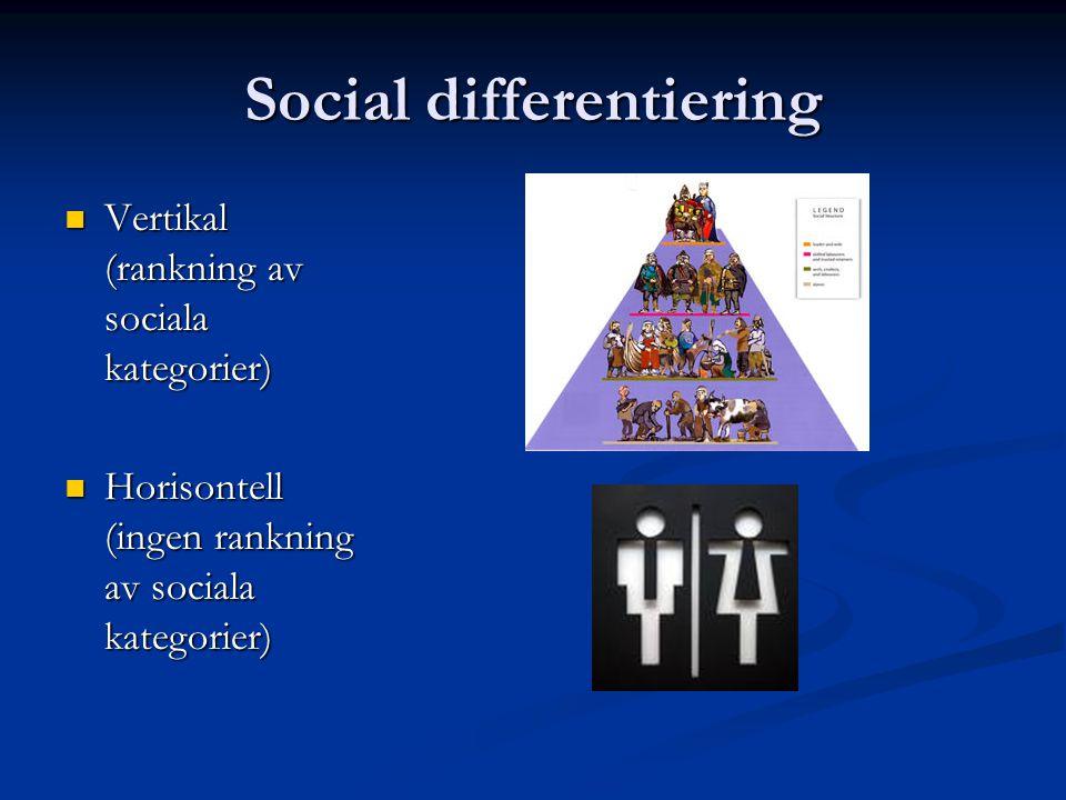 Social differentiering Vertikal (rankning av sociala kategorier) Vertikal (rankning av sociala kategorier) Horisontell (ingen rankning av sociala kate