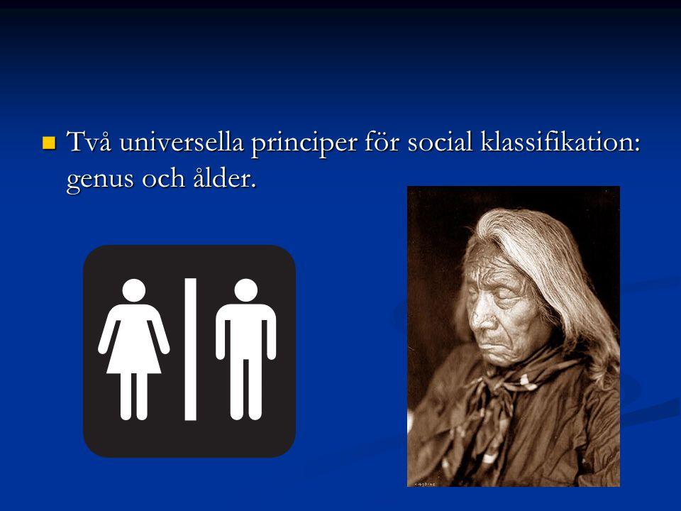 Två universella principer för social klassifikation: genus och ålder. Två universella principer för social klassifikation: genus och ålder.
