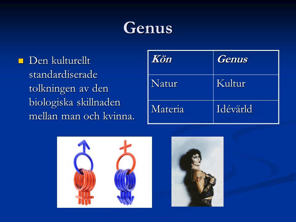 Genus Den kulturellt standardiserade tolkningen av den biologiska skillnaden mellan man och kvinna. Den kulturellt standardiserade tolkningen av den b