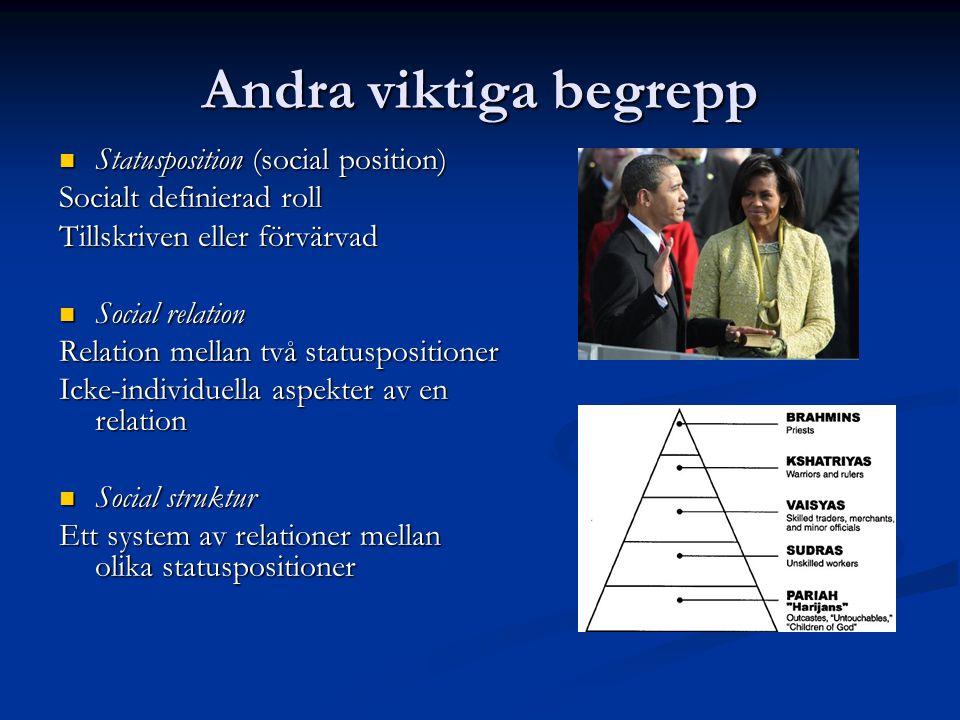 Andra viktiga begrepp Statusposition (social position) Statusposition (social position) Socialt definierad roll Tillskriven eller förvärvad Social rel