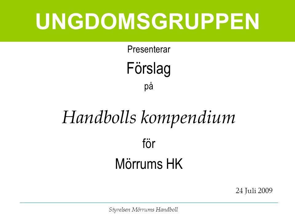 UNGDOMSGRUPPEN Styrelsen Mörrums Handboll Presenterar Förslag på Handbolls kompendium för Mörrums HK 24 Juli 2009