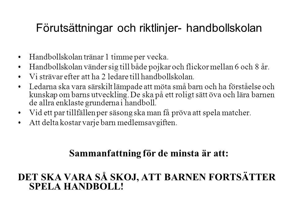 Förutsättningar och riktlinjer- handbollskolan Handbollskolan tränar 1 timme per vecka.
