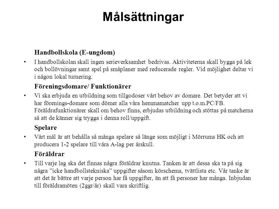 Målsättning för ledarorganisationen Erbjuda ledare en bra tränar/ledarutbildning genom Småland-Blekinge Hf och Svenska Hf.
