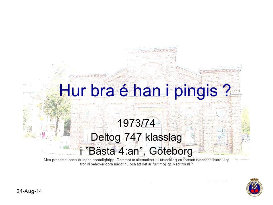 """24-Aug-14 Hur bra é han i pingis ? 1973/74 Deltog 747 klasslag i """"Bästa 4:an"""", Göteborg Men presentationen är ingen nostaligitripp. Däremot är alterna"""