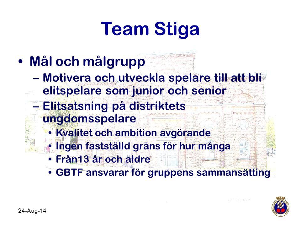 24-Aug-14 Team Stiga Mål och målgrupp –Motivera och utveckla spelare till att bli elitspelare som junior och senior –Elitsatsning på distriktets ungdo
