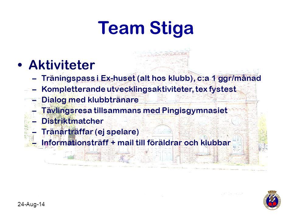 24-Aug-14 Team Stiga Aktiviteter –Träningspass i Ex-huset (alt hos klubb), c:a 1 ggr/månad –Kompletterande utvecklingsaktiviteter, tex fystest –Dialog