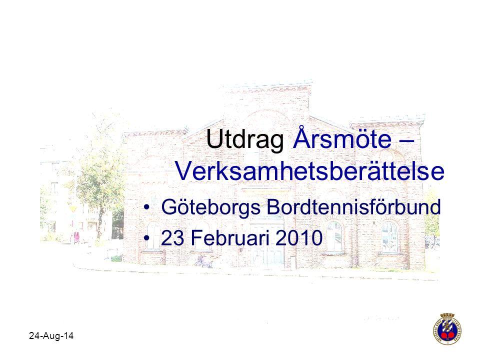 Utdrag Årsmöte – Verksamhetsberättelse Göteborgs Bordtennisförbund 23 Februari 2010