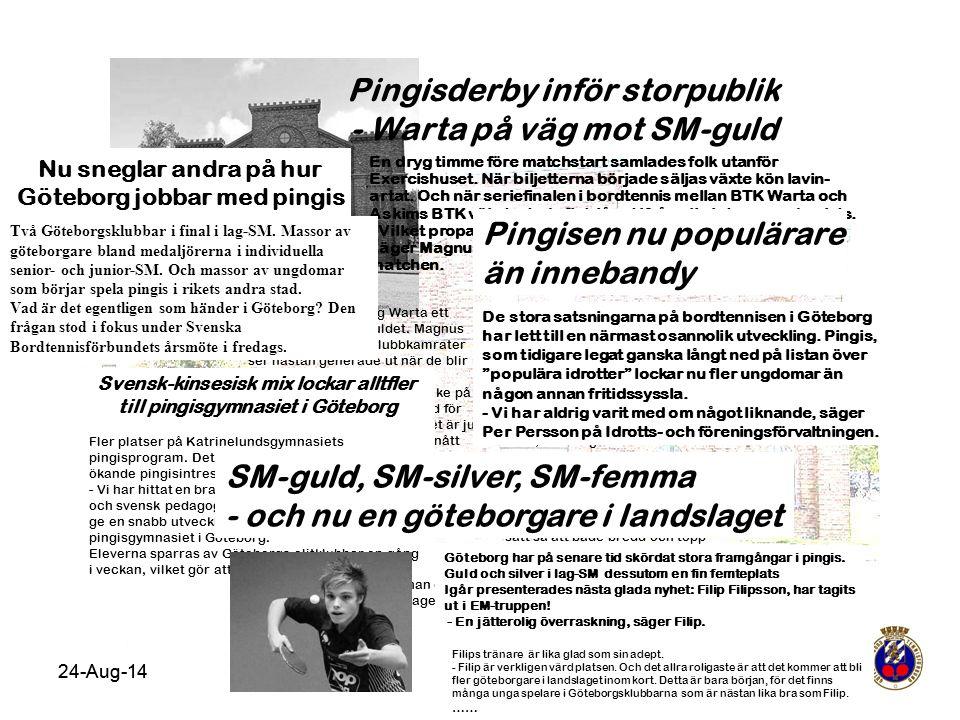 24-Aug-14 Pingisderby inför storpublik - Warta på väg mot SM-guld Tack vare segern tog Warta ett stort steg mot SM-guldet. Magnus Månsson och hans klu