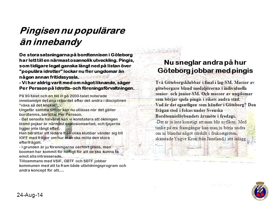 24-Aug-14 Pingisen nu populärare än innebandy De stora satsningarna på bordtennisen i Göteborg har lett till en närmast osannolik utveckling. Pingis,