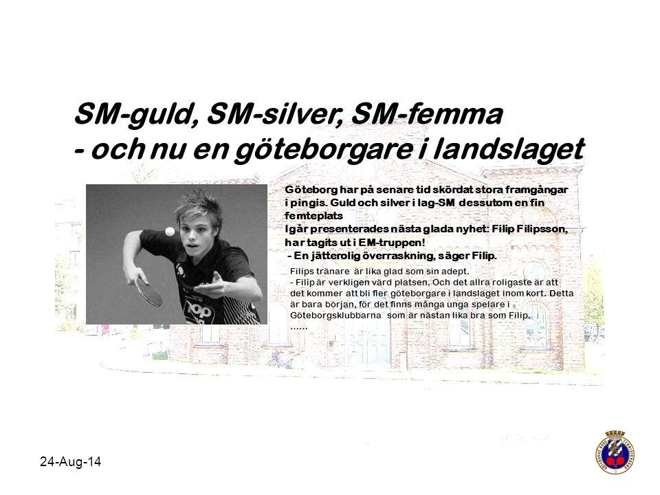 24-Aug-14 SM-guld, SM-silver, SM-femma - och nu en göteborgare i landslaget Göteborg har på senare tid skördat stora framgångar i pingis. Guld och sil