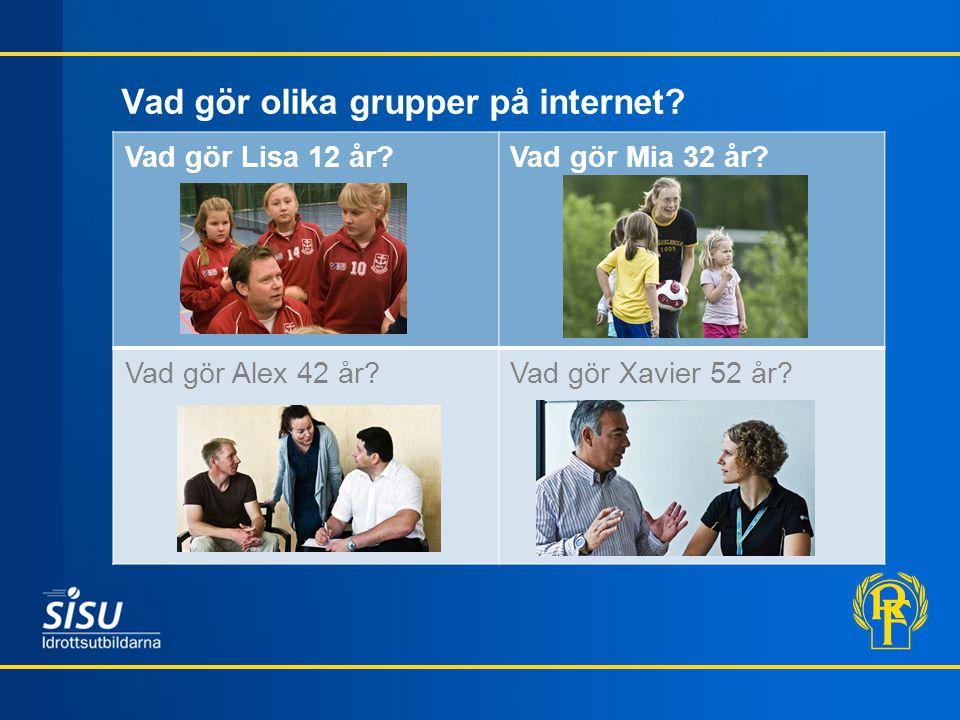 Vad gör olika grupper på internet.Vad gör Lisa 12 år?Vad gör Mia 32 år.