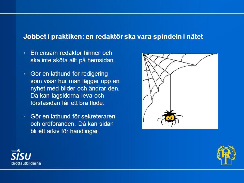 Jobbet i praktiken: en redaktör ska vara spindeln i nätet En ensam redaktör hinner och ska inte sköta allt på hemsidan.