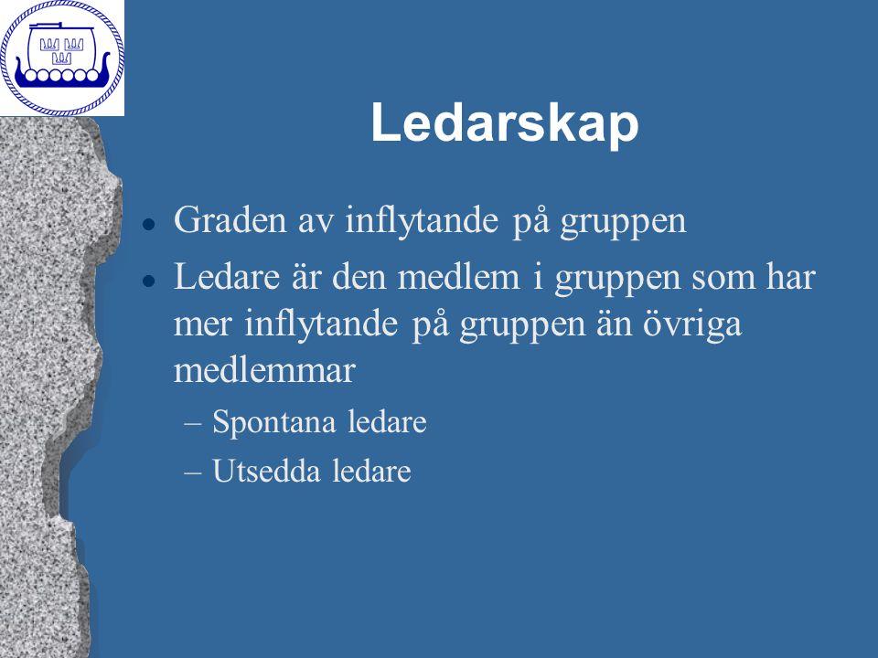 Ledarskap l Graden av inflytande på gruppen l Ledare är den medlem i gruppen som har mer inflytande på gruppen än övriga medlemmar –Spontana ledare –U